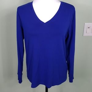 Rafaella Sport V-Neck Royal Blue Top Long Sleeve L